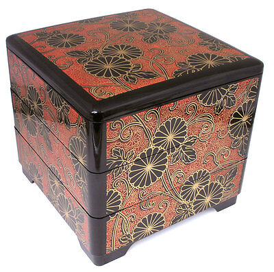 Japanese Lacquer Stack Lunch Bento Box 3-Tiers Kiku Chrysanthemum, Made in Japan