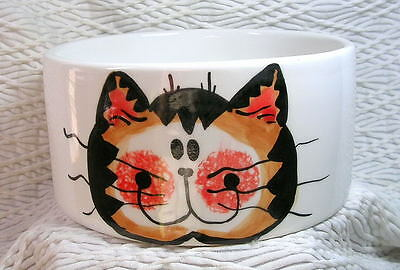 Orange Tabby Face Cat Bowl 20 Oz. Medium Ceramic Dishwasher Safe Grace M. Smith