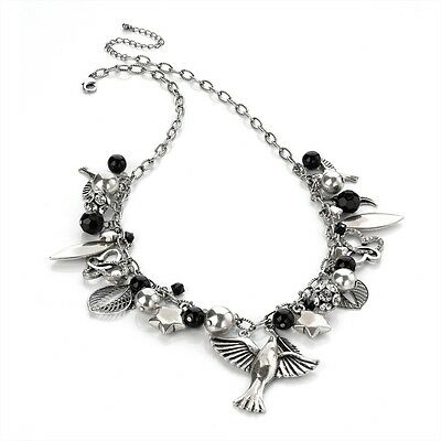 Antique Silver Look Large Charm Style Necklace Birds Stars Leafs Beads Crystals
