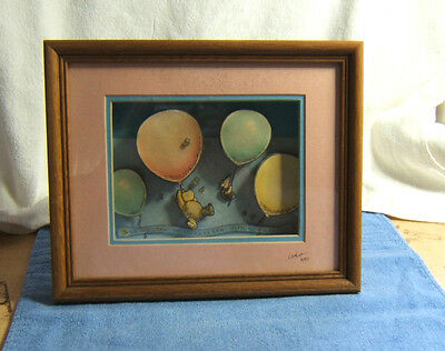 Disney's Winnie The Pooh 3D PICTURE w/ PIGLET Hand Crafted, One of a Kind