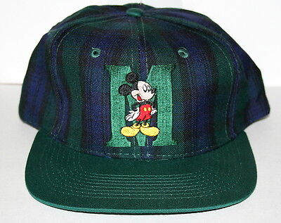 Vintage Mickey Mouse Disney Unlimited M Hat Baseball Cap Green Plaid New NOS 90s