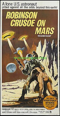 ROBINSON CRUSOE ON MARS MOVIE POSTER VF 41x81 Inch THREE SHEET 1964 SCI FI