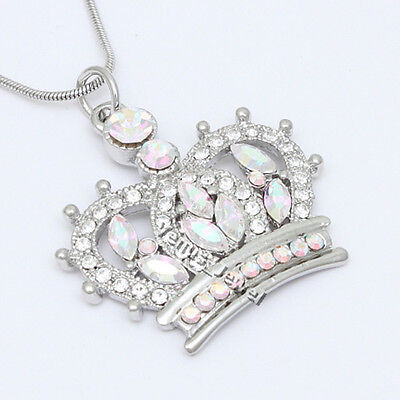 King Queen Princess Crown AB Crystal Pendant Necklace P410