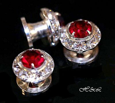 2 x Swarovski 11mm Red Siam & Crystal STUDS Leather bag belt dog collar earring