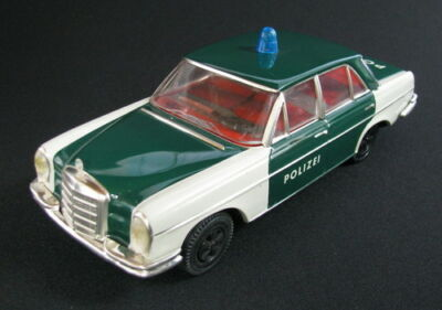 Rare Vintage Friction Toy Mint In Box German Police Car Huki Mercedes 280/se >>