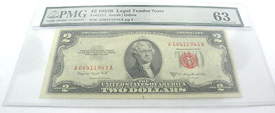 United States 1953B 2 Dollar Bill Smith Dillon Pmg 63 Uncirculated