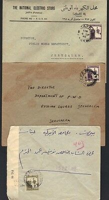 "Palestine 1940 Jaffa 2 Cvrs Franked 7Mils To Jerusalem & Censored ""heron"" To The"