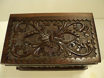 WONDERFUL VICTORIAN WOODEN BOX with ORNATE CARVING & BOOK SHAPE DESIGN