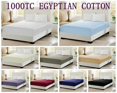 1000TC Egyptian Pure Cotton 40cm Deep Wall Fitted Sheet S/KS/D/Q/K Size 9 Colors
