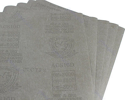 "3000 Grit 5 sheets Sandpaper Waterproof Paper 9""x11"" Wet/Dry Silicon Carbide"
