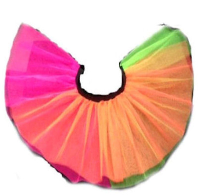 a277b2e8ed Neon Pink Tutu Rainbow Skirt 80's Fancy Dress Fun Run Party Hen Night I LOVE  80S
