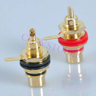 10pc 24K Gold Plated RCA Jack Terminal Female Chassis HIFI Audio Connector Amp
