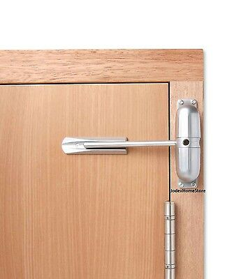 Surface Mounted Satin Chrome Spring Door Closer 1/2 hour left or right fire door