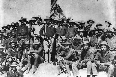 New 5x7 Photo: Future President Theodore Roosevelt with his Rough Riders