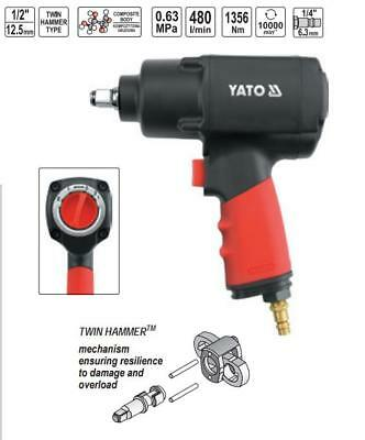 Yato professional 1/2 air impact wrench, twin hammer, 1356Nm,  (YT0953)