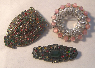 3 Victorian Art Deco Rhinestones Dress Clip - Pot Metal Bar Pin – Pink Moonglow