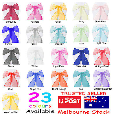 30 x Organza Sashes Chair Cover Bows Sheer Wedding Event White Black Silver Gold