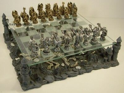*** PEWTER METAL ** Medieval Times Dragon Fantasy Gothic Chess Set W Glass Board
