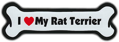Dog Bone Magnet: I Love My Rat Terrier | For Cars, Refrigerators, More