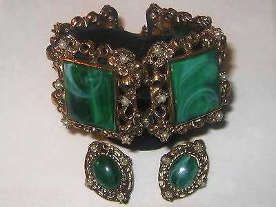 Vintage Bold Chunky Marbled Green Thermoset Lucite Faux Pearl Bracelet /Earrings