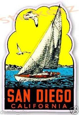 San Diego California Vintage Style Travel Decal / Vinyl Sticker, Luggage Label