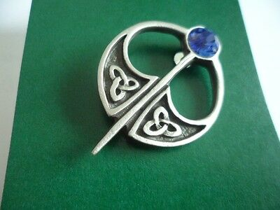 Celtic Kilt Pin style sapphire coloured jewelled Pewter Brooch