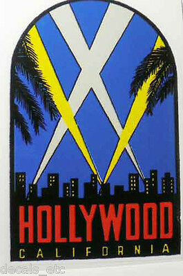 Hollywood California Vintage Style Travel Decal / Vinyl Sticker, Luggage Label