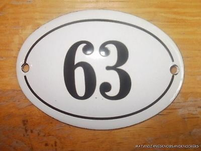 Small Antique Style Enamel Door Number 63 Sign Plaque House Number Furnituresign
