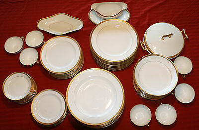 73 Piece Limoges France Bone China with Gold Trim