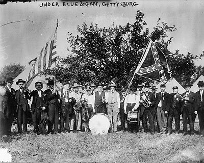 New 8x10 Civil War Photo: Veterans with Flags of Blue & Gray, Gettysburg Reunion