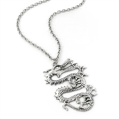"""28"""" Antique Silver Look Dragon Pendant Necklace Mystic Fantasy Chinese Japanese"""