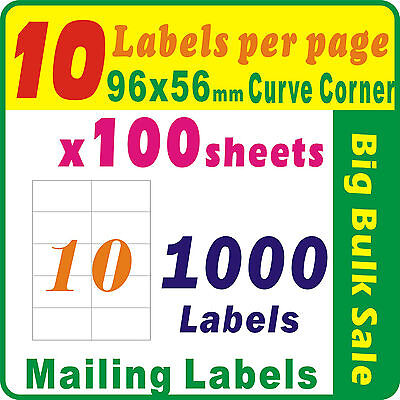 100 Sheets 10 Labels Per Page 1000 Labels 96x56mm Round Corner A4 Mailing Label