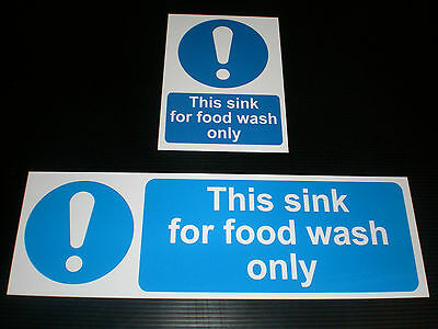 THIS SINK FOR FOOD WASH ONLY Sign Plastic Or Sticker Catering Choice Of Sizes