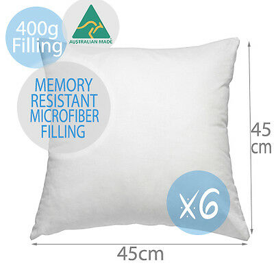 6 x Aus Made Premium Memory Resistant Polyester Pillow Cushion Inserts  45x45CM