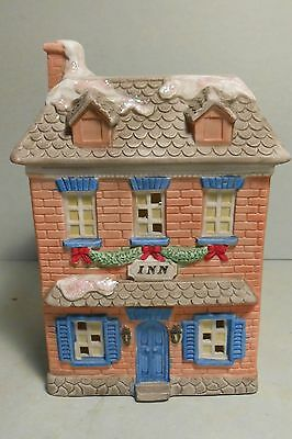 Christmas Village Pretty Village Inn Made of Porcelain Unknown Made in Taiwan