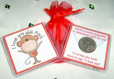 BOYFRIEND GIRLFRIEND HUSBAND WIFE LUCKY SIXPENCE FOR VALENTINES DAY WITH RIBBON