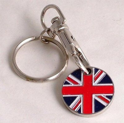England Scotland GB UK Flags Shopping Trolley Pound Coin Keyring Wales