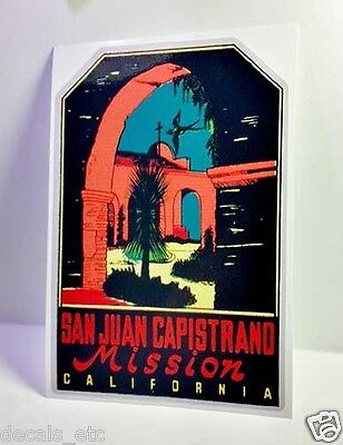 San Juan Capistrano Vintage Style Travel Decal / Vinyl Sticker, Luggage Label