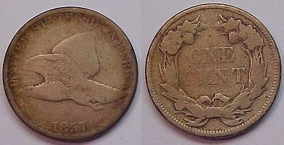 1857 Flying Eagle Cent G - VG Good - Very Good