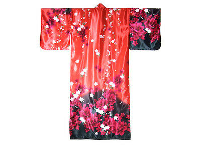 "Japanese Women's 56""L Kimono Peony Red NEW, Authentic Made in Japan"