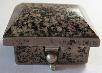 Vintage Taxco Mexico Sterling Silver Pink Leopard Jasper Top Pill Box
