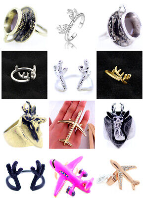 Vintage punk goth biker retro style aeroplane plane ring multiple choices