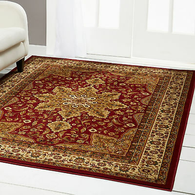 "BURGUNDY RED ORIENTAL AREA RUG 4 x 6 SMALL PERSIAN 83 - ACTUAL 3' 6"" x 5' 2"""