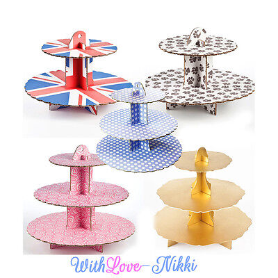 2 or 3 Tier Cardboard Afternoon Tea Cupcake Cake Stand Reusable Birthday Party