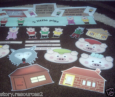 THE 3 THREE LITTLE PIGS teaching resources story sack EYFS SEN childminder CD