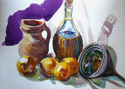 "STUNNING DORANNE ALDEN ORIGINAL ""Lemons and Grappa""  WATERCOLOUR PAINTING"