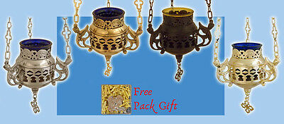 Vigil Hanging Metal Oil Candle Orthodox Greka Design A + FREE Wicks + Glass Cup