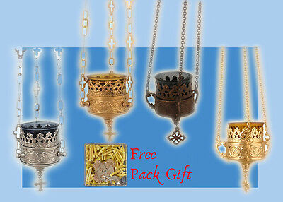 Vigil Hanging Metal Oil Candle Orthodox Cross Lace Design FREE Wicks from Greece
