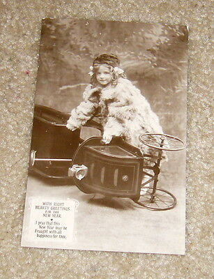 RPPC  Young English Girl in Toy Car,Used,circa 1910,G+
