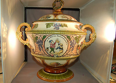 Mettlach Castle Mark Lidded Punch Bowl w/Gnomes Drinking/Dancing! SUPERB!